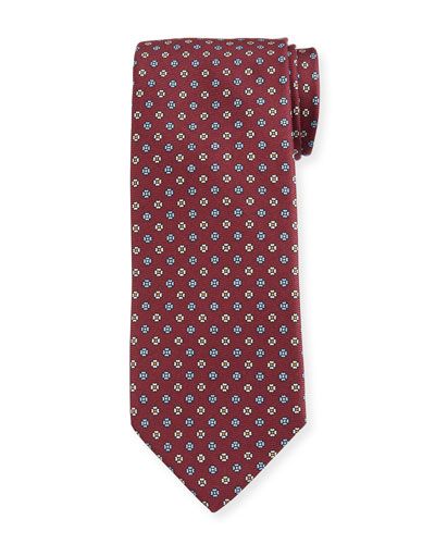 Men's Small Floral Silk Tie  Red