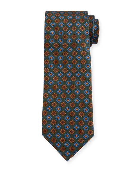 Image 1 of 1: Men's Vintage Floral Silk Tie, Green