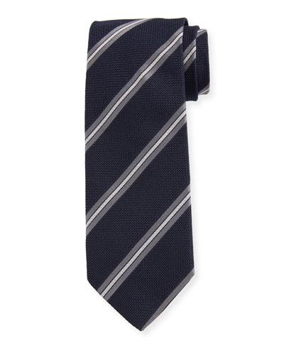 Men's Diagonal Stripe Silk Grenadine Tie