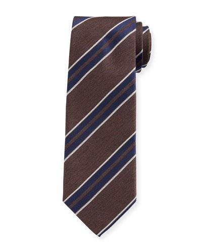 Men's Diagonal Stripe Silk Oxford Tie