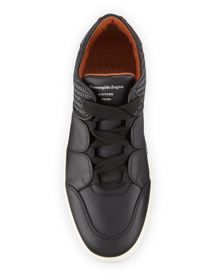 Men's Tiziano Pelle Tessuta Woven Leather Low-Top Sneakers