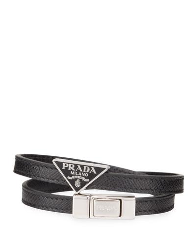 Men's Saffiano Leather Wrap Bracelet