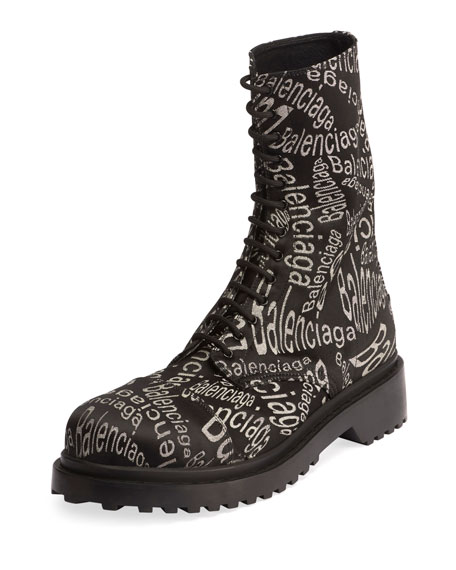 Men's Logo-Print Canvas Combat Boots