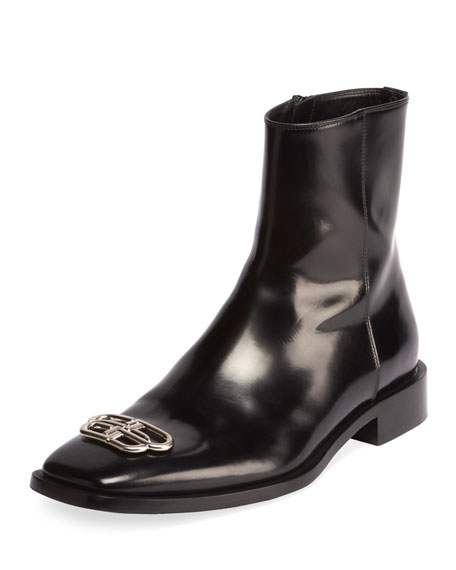 Image 1 of 1: Men's Rim BB-Logo Leather Booties