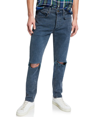 Men's Standard Issue Fit 1 Slim-Skinny Jeans w/ Ripped Knees