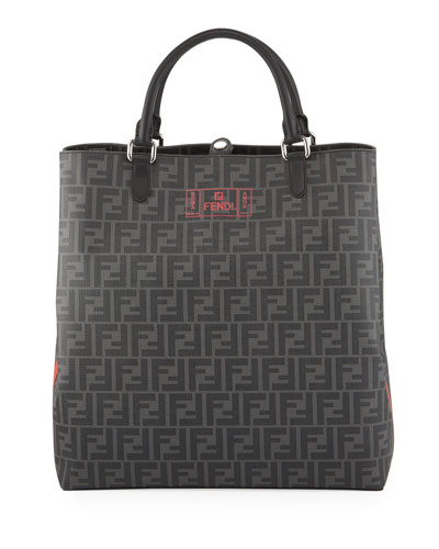 Men's FF Canvas Tote Bag with Neon Logo