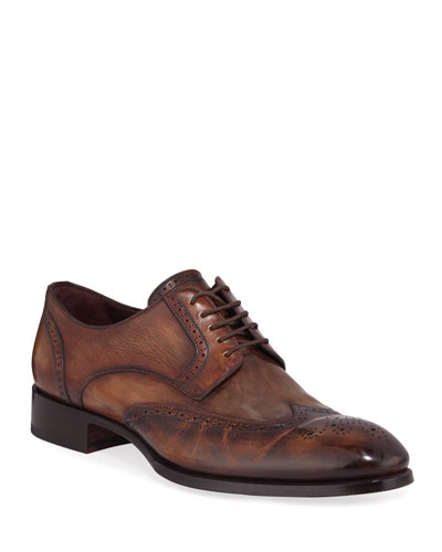 Men's Wing-Tip Leather Derby Shoes