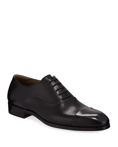 Men's Leather Cap-Toe Oxford Shoes