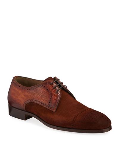 Men's Brogue Suede/Leather Derby Shoes
