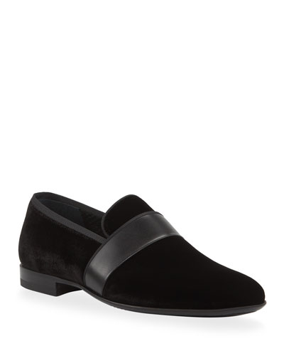 Men's Velvet Loafers with Leather Strap