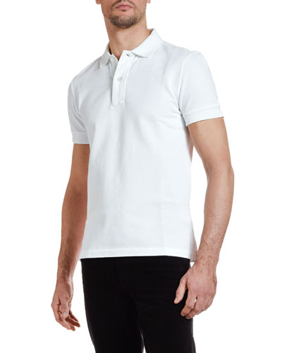 Men's Pique-Knit Polo Shirt  White
