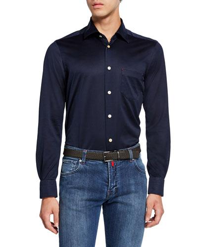 Men's Jersey Cotton Shirt  Navy