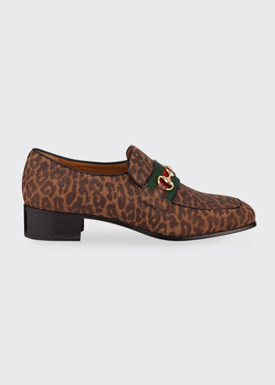 Men's Aylen Leopard-Print Suede Slip-On Loafers