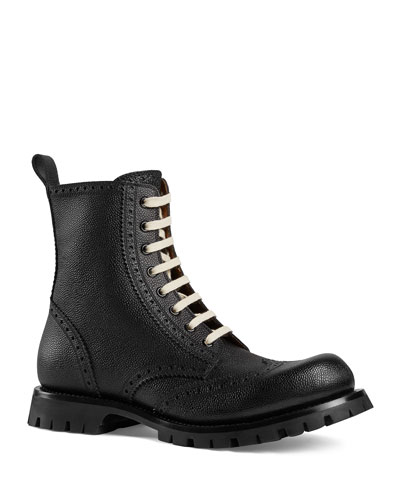 Men's New Arley Lace-Up Boots w/ Brogue Detailing