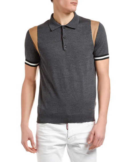 Image 1 of 1: Men's Wool Knit Polo Shirt