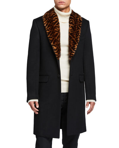 Men's Solid Overcoat w/ FF-Print Fur Collar