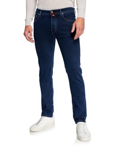 Men's Medium-Wash Tapered Jeans