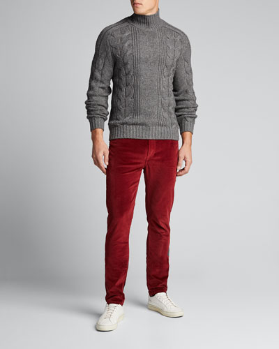 Men's Solid Cable-Knit Turtleneck Sweater