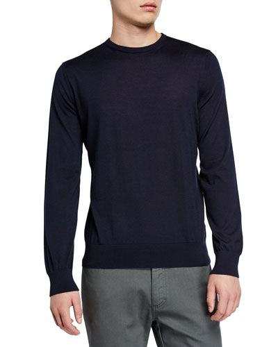 Men's Lightweight Cashmere/Silk Sweater  Navy