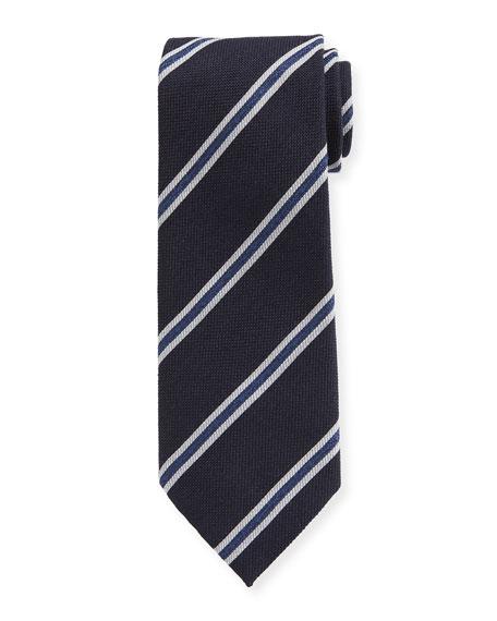 Men's Framed-Stripe Tie, Navy