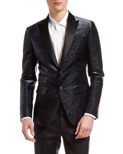 Men's Metallic Silk-Blend Evening Jacket