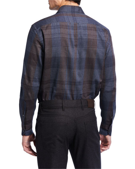 Men's Tartan Plaid Cotton Sport Shirt