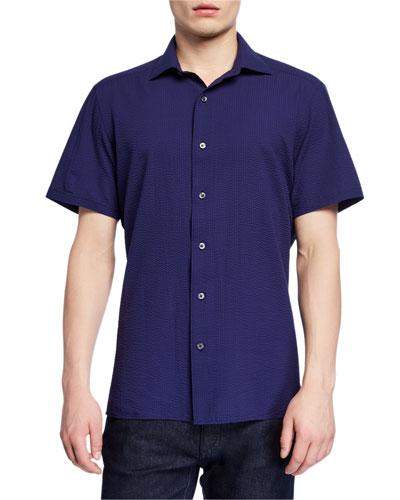 Men's Seersucker Short-Sleeve Sport Shirt  Navy