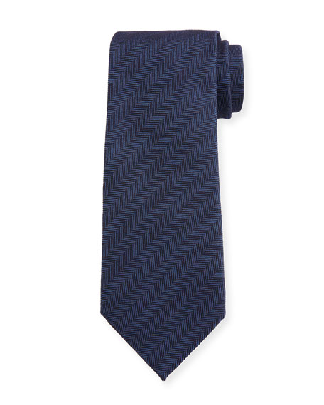 Men's Solid Herringbone Tie, Navy