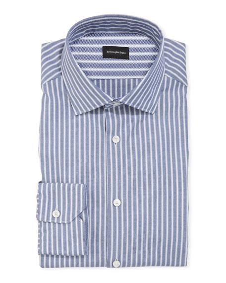 Men's Oxford Stripe Cotton Dress Shirt