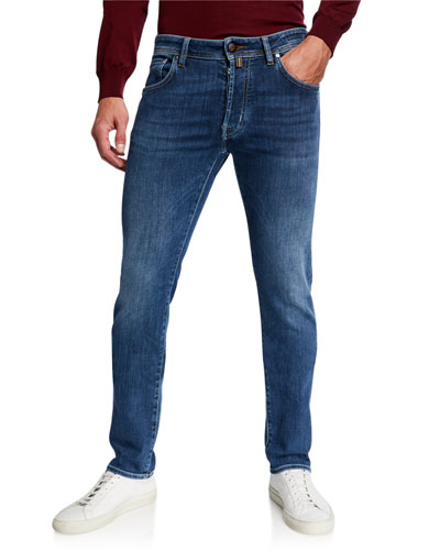 Men's Medium-Wash Slim Stretch-Denim Jeans