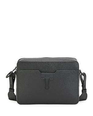 Off-White Men's Web-Strap Leather Camera Bag