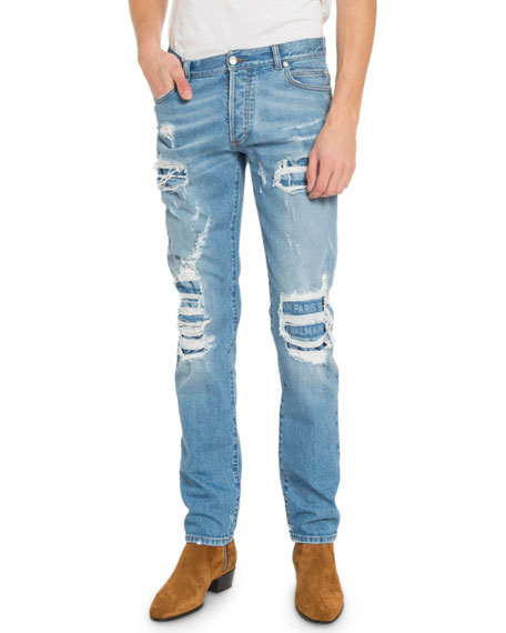Image 1 of 1: Men's Distressed Slim-Fit Logo Jeans