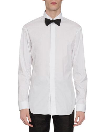 Men's Scritto Stripe Dress Shirt w/ Hidden Buttons