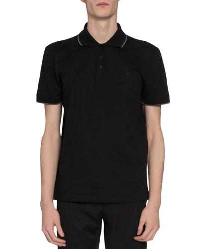 Men's Tipped Pique-Knit Polo Shirt  Black