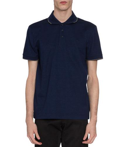 Men's Tipped Pique-Knit Polo Shirt  Royal