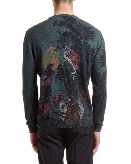 Men's Wool Dragon Graphic Sweater