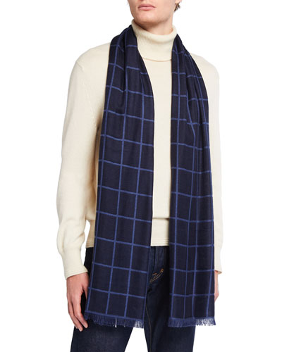 Men's Windowpane Cashmere/Silk Scarf