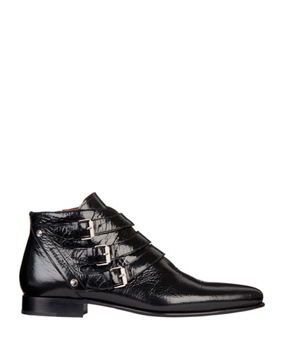 Men's Dallas Triple-Monk Strap Leather Ankle Boots