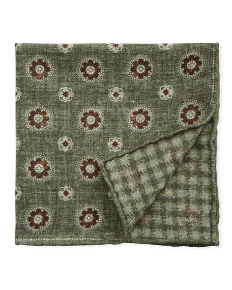 Men's Floral-Houndstooth Reversible Pocket Square