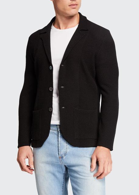 Men's Merino Wool Cardigan Blazer