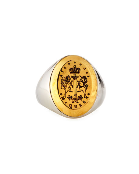 Men's Crest Logo Signet Ring, Size 9-10