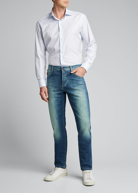 Men's Charcoal-Wash Denim 5-Pocket Pants