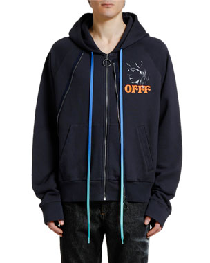 Off-White Men's Woman Portrait Double-Zip Hoodie Sweatshirt
