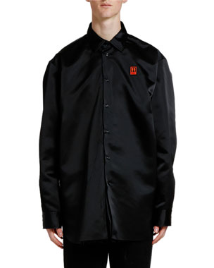 Off-White Men's Scaffolding Arrows Oversized Nylon Sport Shirt