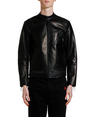 Off-White Men's Scaffolding Arrows Leather Biker Jacket