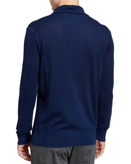 Men's Cashmere-Blend Long-Sleeve Polo Shirt, Dark Blue