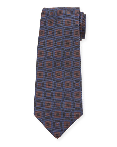 Men's Art Deco Squares Silk Tie, Brown