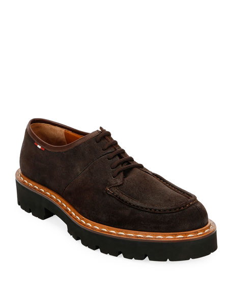 Men's Lyndon Suede Lugged-Sole Derby Shoes