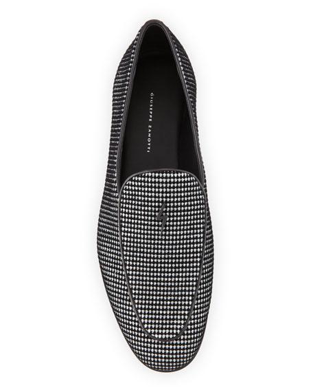 Men's Velvet Glitter Dot Loafers