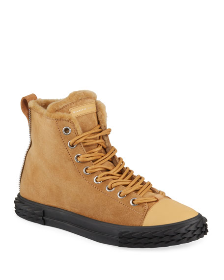 Men's Blabber Suede High-Top Sneakers with Fur Lining